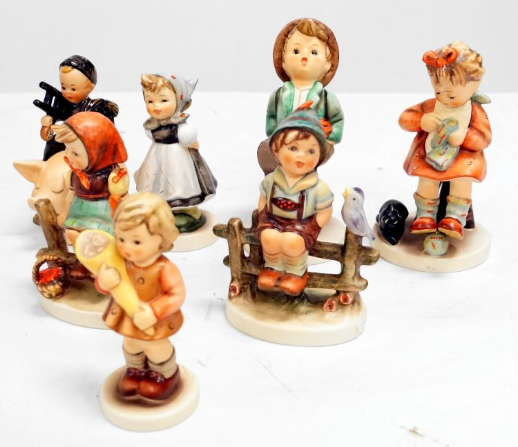 LOT (7) GOEBEL/HUMMEL AND 3-LINE PORCELAIN FIGURES INCLUDING ALL SMILES, #498; MOTHER'S HELPER, #133; GLOBE TROTTER, #79; WAYSIDE HARMONY, ??#; JUST RESTING, #112 (3-LINE); CHIMNEY SWEEP BOY ON PEG, SP061 (LADDER CHIPPED)