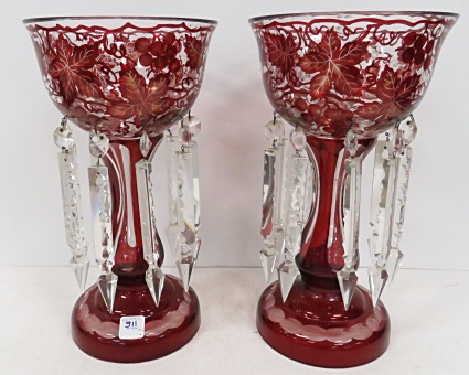 PAIR CRANBERRY CUT-TO-CLEAR GARNITURES WITH PRISMS. HEIGHT 13 1/4