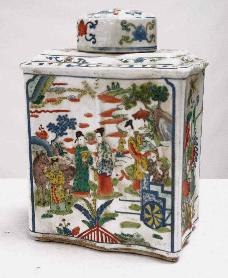 CHINESE FAMILLE ROSE DECORATED PORCELAIN COVERED JAR, BEARING SPURIOUS K'ANG HSI MARK. HEIGHT 14