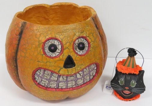 LOT (2) PAPIER MACHE HALLOWEEN ITEMS INCLUDING JACK-O-LANTERN AND CAT HEAD CANDY CONTAINER