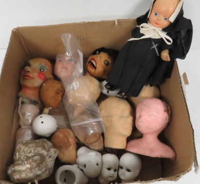 LOT ASSORTED DOLL HEADS INCLUDING PORCELAIN, PAPIER MACHE AND NUN DOLL