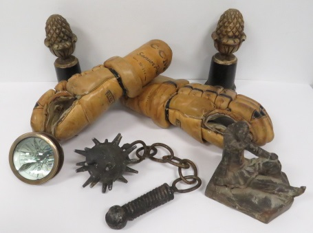 LOT INCLUDING HOCKEY GAOL GLOVES, COMPASS