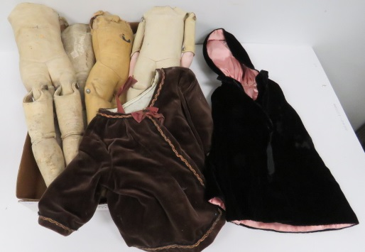 LOT ASSORTED KID LEATHER DOLL BODIES AND DOLL CLOTHES.
