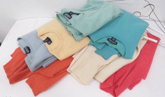 SET (7) LAND'S END CASHMERE LADY'S SWEATERS. SIZE L