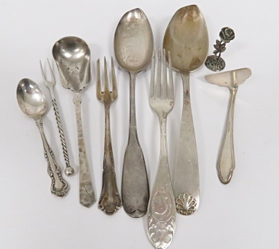 LOT ASSORTED COIN SILVER INCLUDING SPOONS, FORK, ETC. TWT 6.6 OZT