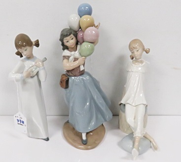 LOT (3) LLADRO DECORATED PORCELAIN INCLUDING