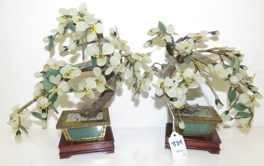 PAIR CHINESE PEKING GLASS PRUNIS BLOSSOM TREES WITH STANDS. HEIGHT 10