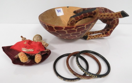 LOT INCLUDING CARVED GIRAFFE BOWL, RUSSIAN DOLL AND TRIBAL BRACELETS