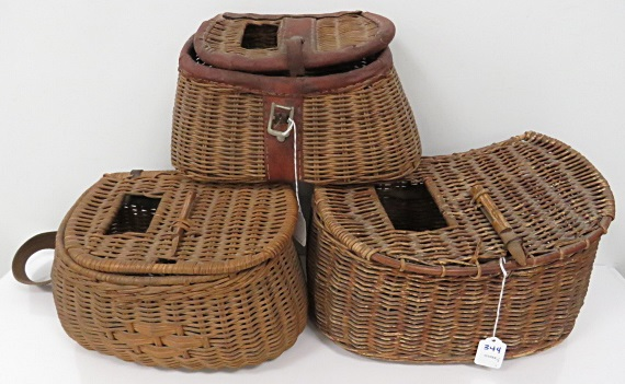 LOT (3) VINTAGE WICKER AND LEATHER FISHING CREELS