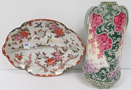 LOT (2) INCLUDING JAPANESE KUTANI DECORATED PORCELAIN BOWL, NIPPON MORIAGE VASE (FORMERLY LAMP BASE-REDUCED)