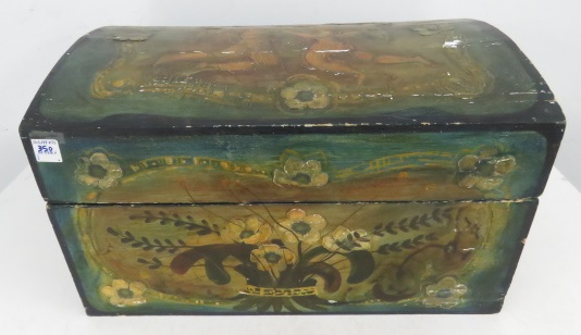SPANISH COLONIAL STYLE PAINTED ARCH-TOP TRUNK. HEIGHT 12