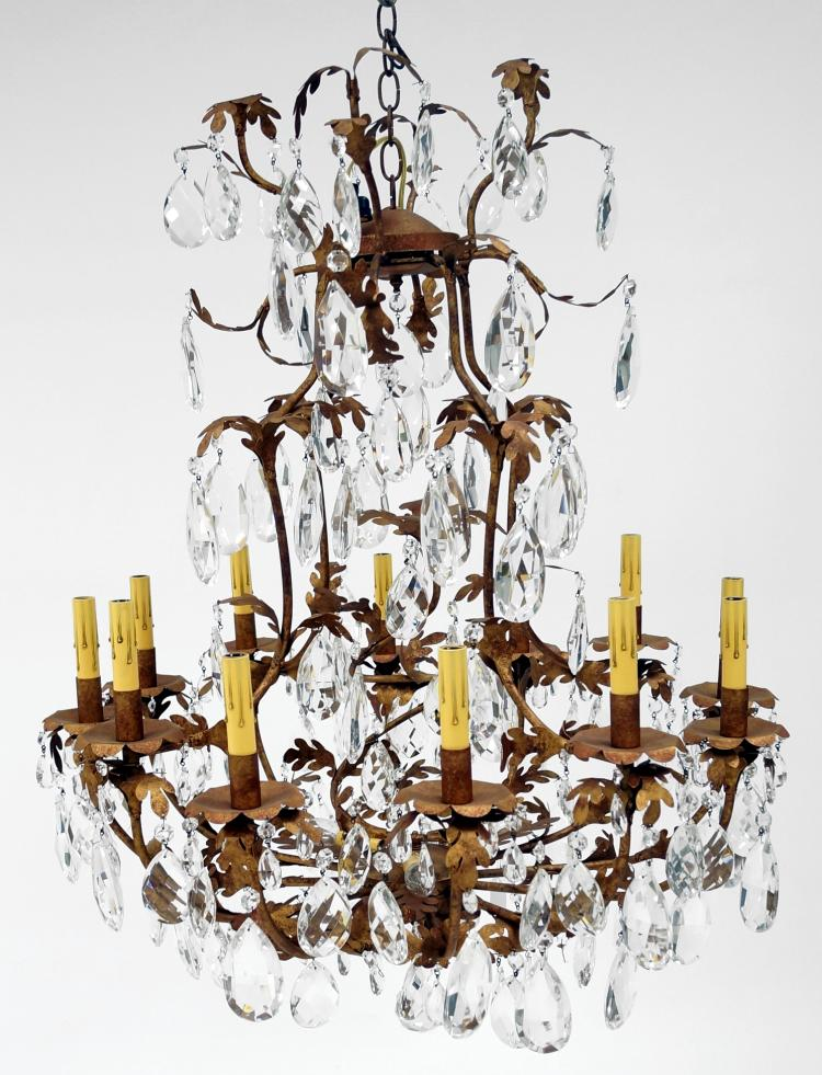 FRENCH STYLE GILT IRON AND CRYSTAL MULTI-ARM CHANDELIER. HEIGHT 40