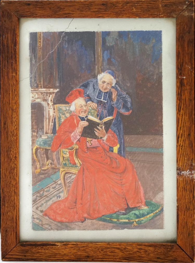 ITALIAN SCHOOL (19/20TH CENTURY), FRESCO PANEL, THE BISHOP, SIGNED MF. SIGHT 11 1/2 X 8 1/4