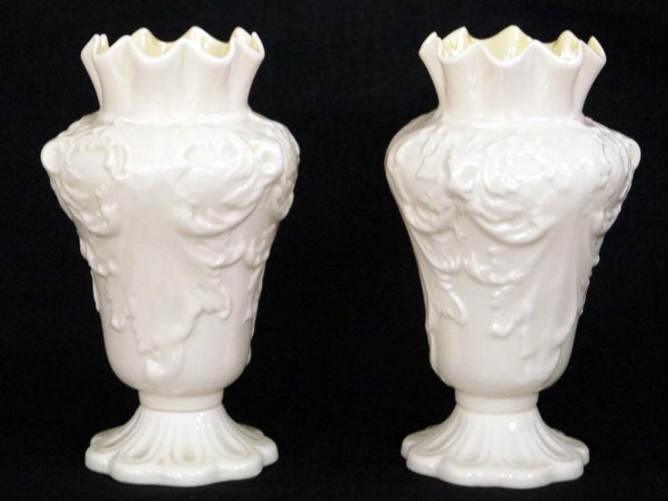 PAIR BELLEEK IRISH PORCELAIN VASES RATHMORE WITH YELLOW INTERIOR, YELLOW HALLMARK. HEIGHT 7 3/8