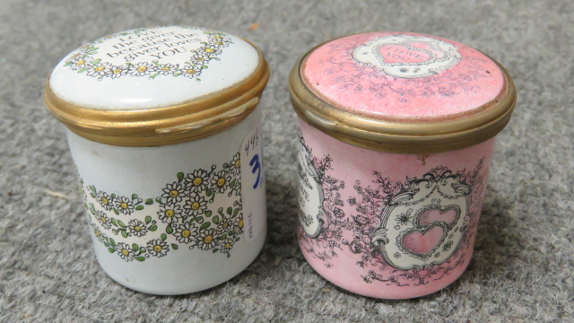 LOT (2) BILSTON AND BATTERSEA ENAMELED BOXES FOR CARTIER. HEIGHT 1 3/4