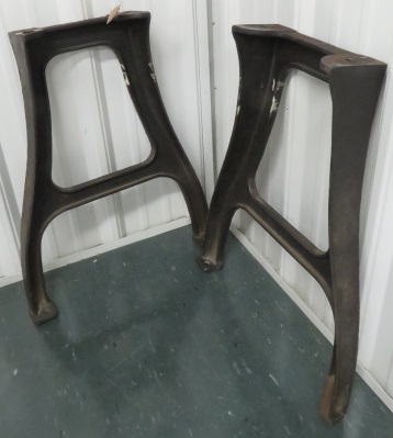PAIR INDUSTRIAL DESIGN CAST IRON TABLE BASES. HEIGHT 30