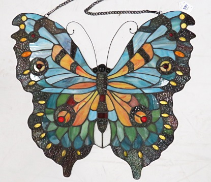 VINTAGE LEADED STAIN GLASS BUTTERFLY PLAQUE. HEIGHT 20