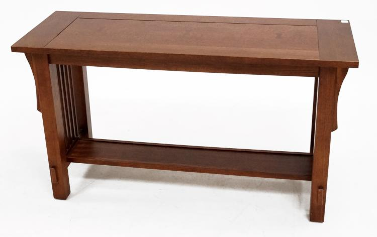 Arts crafts oak console table height 27 top 17 x 48 for Sofa table height