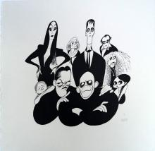 AL HIRSCHFELD (AMERICAN 1903-2006), LITHOGRAPH, THE ADAMS FAMILY, SIGNED (IN PENCIL) 78/100. SHEET 20 1/2 X 20