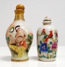 LOT (2) CHINESE FAMILLE ROSE DECORATED PORCELAIN SNUFF BOTTLES INCLUDING EROTIC. HEIGHT 3 1/4-4 1/4