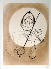 AL HIRSCHFELD (AMERICAN 1903-2006), ETCHING, JACK BENNY AND HIS VIOLIN, SIGNED (IN PENCIL) AP XVI/XXX. PLATE 15 1/2 X 11 3/4