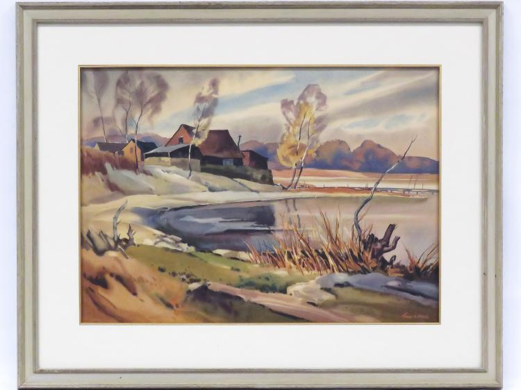 GEORGE A. ALBACH (AMERICAN/NY 1906-), WATERCOLOR, VILLAGE LANDSCAPE, SIGNED. SIGHT 19 X 26