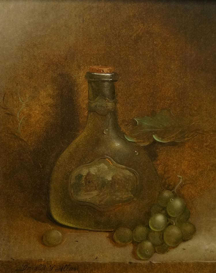 DONALD ALLAN (AMERICAN 1927-), OIL ON PANEL, BOTTLE WITH GRAPES, SIGNED. 13 3/4 X 11
