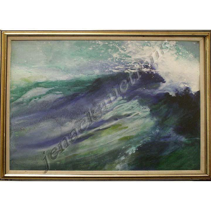 WATERCOLOR/ACRYLIC, WIND AND WAVE, SIGNED DOROTHY
