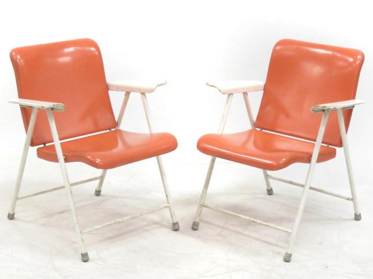 Pair Russel Wright For Samson Chair Folding Metal Chairs