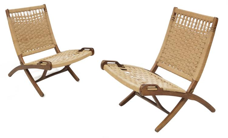 lot 157 pair hans wegner style danish rope folding chairs