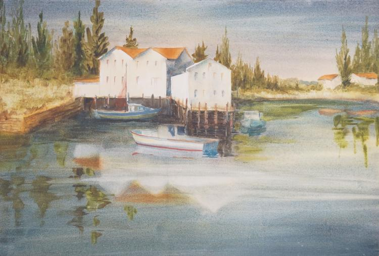 DOROTHY W. BARBERIS (AMERICAN 1918-1998), WATERCOLOR, HARBOR SCENE, SIGNED. SIGHT 21 X 29