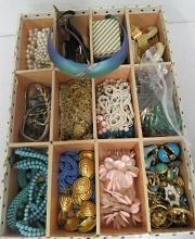 LOT ASSORTED COSTUME JEWELRY INCLUDING NECKLACES, EARRINGS, RINGS, WATCHES, ETC