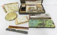 LOT INCLUDING ASSORTED COSTUME JEWELRY, COMPACTS, HARMONICA, ETC