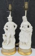 PAIR CONTINENTAL PARISIAN FIGURAL TABLE LAMPS. HEIGHT 30
