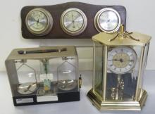 LOT (3) INCLUDING QUARTZ ANNIVERSARY CLOCK, BAROMETER AND ANALYTICAL BALANCE SCALE