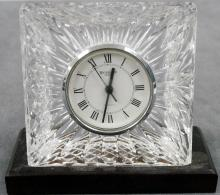 WATERFORD CRYSTAL DESK CLOCK, SIGNED. HEIGHT 6