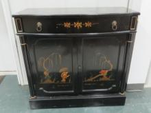 REGENCY STYLE DECORATED AND EBONIZED BAR CABINET. HEIGHT 35