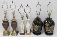 LOT (3) PAIRS TABLE LAMPS