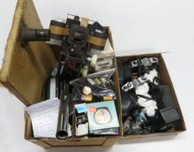 LOT ASSORTED PHOTOGRAPHY INCLUDING PENTAX CAMERAS, FILTERS, LENSES, CASES, ETC