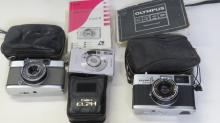 LOT (3) CAMERAS INCLUDING OLYMPUS 35RC, OLYMPUS PEN, CANNON ELPH 2