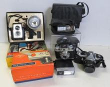 LOT ASSORTED CAMERAS AND ACCESSORIES INCLUDING PENTAX