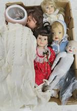 BOX LOT ASSORTED DOLLS INCLUDING GERMAN ARMAND MARSEILLE, #390 (AS IS)