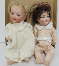 LOT (2) GERMAN & JAPANESE PORCELAIN BISQUE HEAD BABY DOLLS, 1/SIGNED AB (ALT, BECK & GOTTSCHALCH)