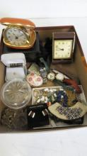 LOT VINTAGE COSTUME JEWELRY, WATCHES, TRAVEL ALARMS, ETC