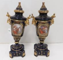 PAIR ROYAL VIENNA STYLE COBALT AND GILT URN LAMP BASES. HEIGHT 15 1/2