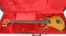 ODYSSEY B-100 CARVED TOP ELECTRIC BASS GUITAR, #78-1333, 1978 WITH HARD CASE (CRACKED)