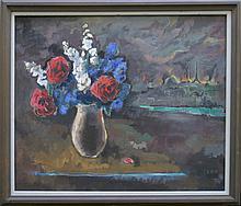"MANUEL KOMROFF (1890-1974), OIL ON CANVAS BOARD, UNTITLED (PARIS BURNING/PATRIOTIC STILL LIFE), 1940, SIGNED ON VERSO. 20 X 24""; FRAMED 23 X 27"""
