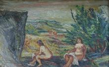 EUGENE LUDINS (1904-1996), OIL ON BOARD