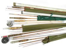 LOT (6) ASSORTED SPLIT BAMBOO RODS, CASED INCLUDING 12' & 8'6
