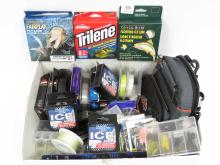 BOX LOT FISHING LINE, FLIES, HOOKS, TACKLE, ETC